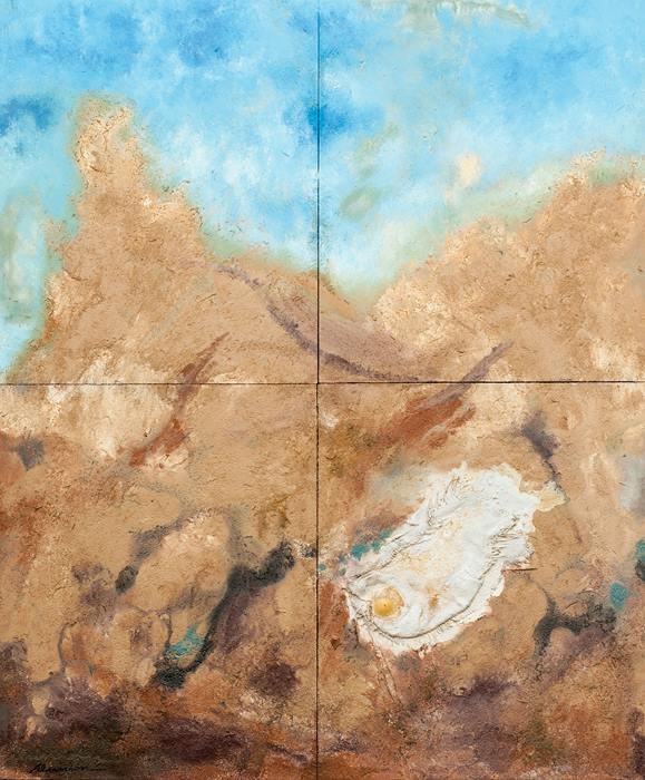 """Aunión """"Silencio del amanecer"""", 2013. Técnica mixta sobre tabla. 104 X 125 cm."""