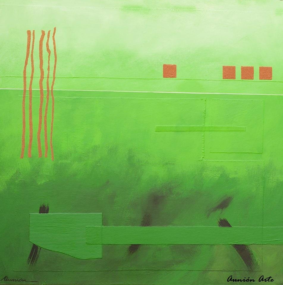 """Aunión """"Suspensión"""", 2014. Técnica mixta sobre tabla. 90 x 90 cm."""